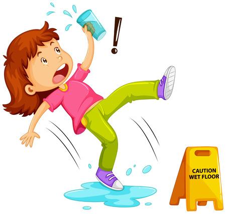 wet girl: Girl slipping on wet floor illustration Illustration
