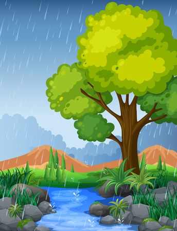 Park scene in rainy season illustration