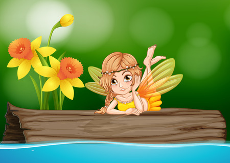 fantacy: Cute fairy sitting on wooden log illustration