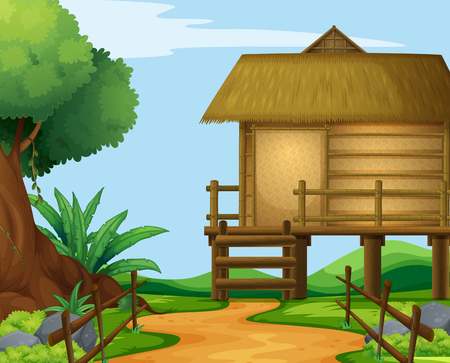 rural scene: Wood cabin in the countryside illustration