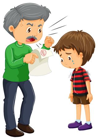 dessin enfants: Angry père et garçon avec de mauvaises notes sur papier illustration Illustration