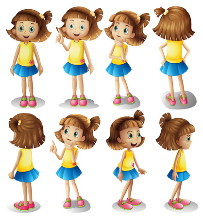 Girl character in different positions illustration