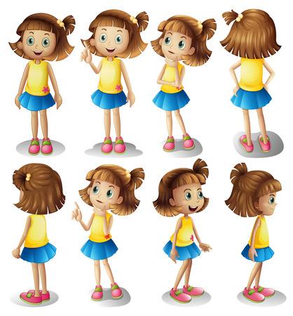 Carácter de la muchacha en diferentes posiciones de la ilustración