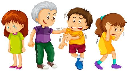 Großes Kind drohte jüngeren Kinder Illustration
