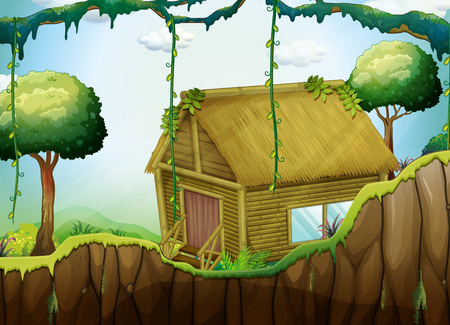 forest wood: Wood cabin in the forest  illustration