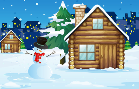 Wood cabin in the snow field illustration