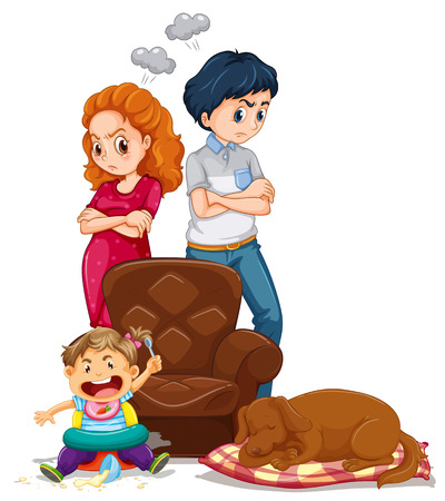 Parents get angry with kid making mess illustration Stock Illustratie