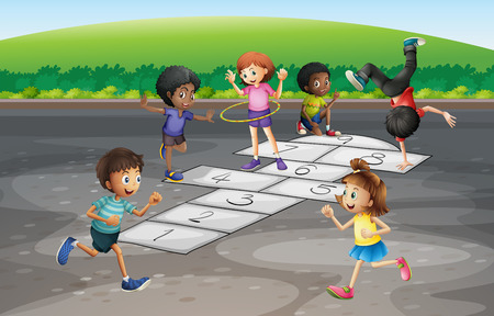 hulahoop: Many children playing hopscotch in the park illustration