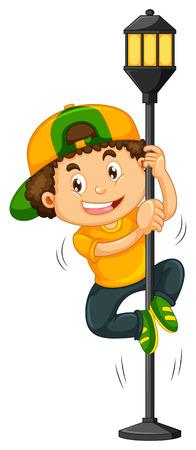 Boy climbing up the lamp post illustration Illustration