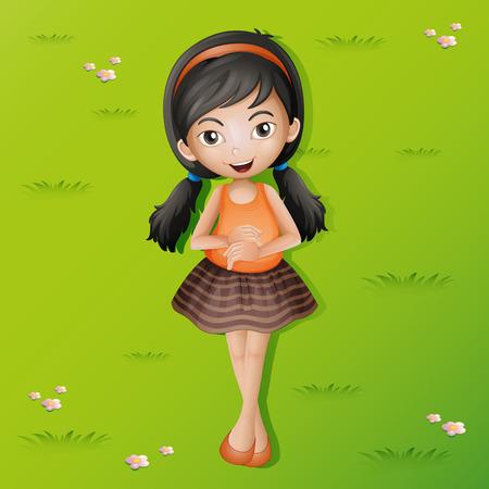 ly: Happy girl lying on grass illustration