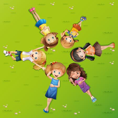 ly: Many happy girls lying on grass illustration