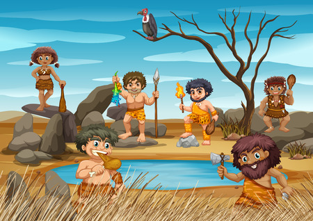 Cavemen living by the pond illustration