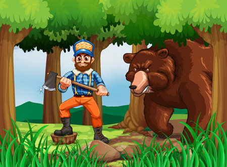 Lumber jack with axe and big bear in the woods illustration