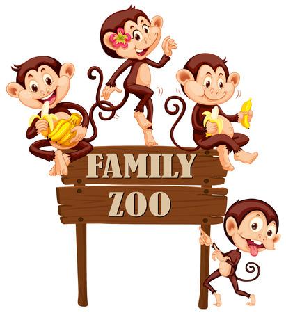 Cute monkeys sitting on wooden sign illustration