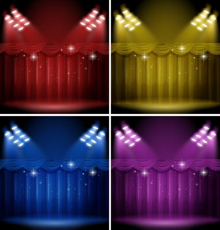 Plantilla de fondo con diferentes cortinas de color ilustración