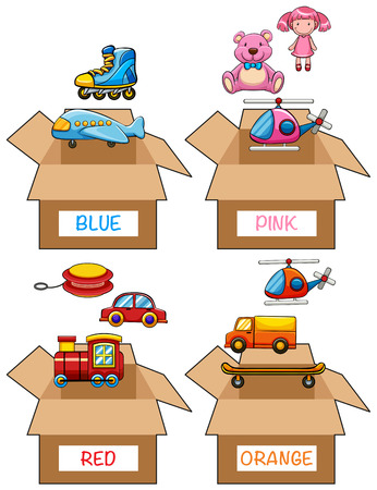 Different items in various colors illustration Illustration