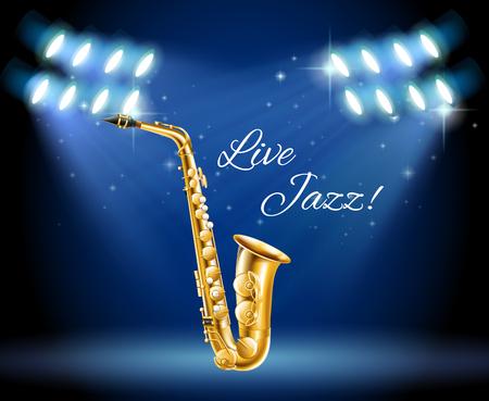woodwind: Saxophone on bright stage illustration