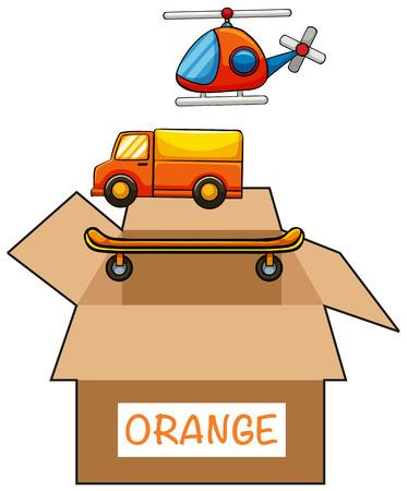 colour image: Cardboard box with label orange illustration