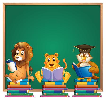 Kaderontwerp met leeuw en tijger die boekenillustratie lezen Stock Illustratie