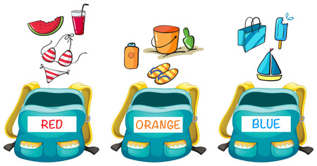 watermelon boat: Three backpacks with different color items in it illustration Illustration