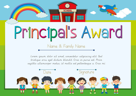 Certificate template for principal's award illustration