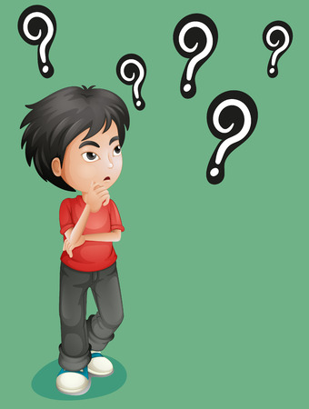 adolescent boy: Boy with lots of question marks illustration