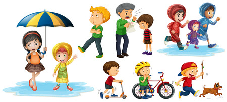 People doing different actions illustration Illustration