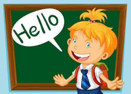 school classroom: School girl saying hello in classroom illustration