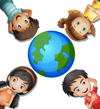 adolescent boy: Four happy kids and round earth illustration