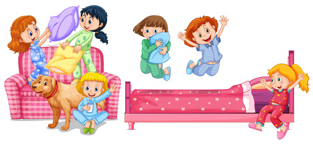 Girls playing in bedroom illustration