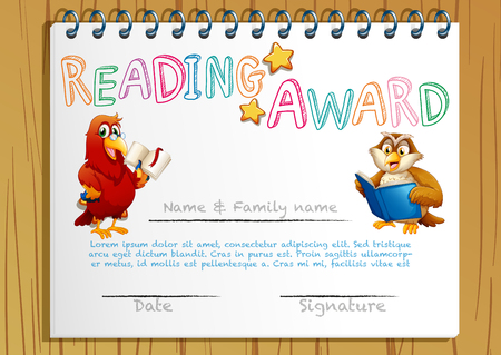 Certificate Template With Owl Reading Book Illustration Royalty Free