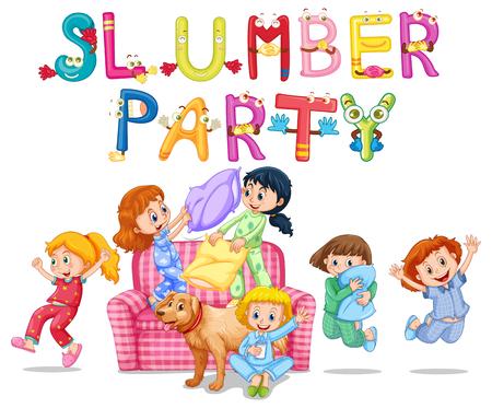 pijamada: Parte de pijama con las niñas en pijama en casa ilustración
