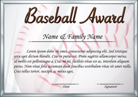 Certificate Template For Baseball Award Illustration Royalty Free