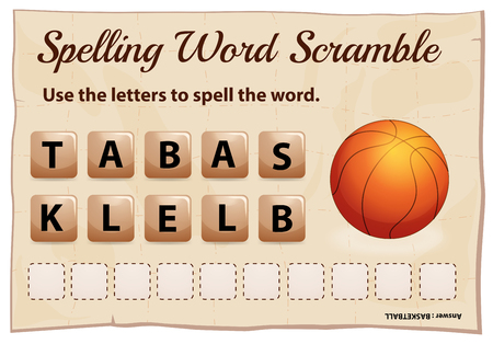 Spelling word scramble game for word basketball illustration Ilustracja