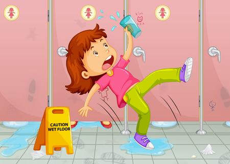 wet floor sign: Girl slipping on toilet floor illustration Illustration