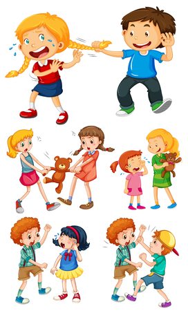 Big kids fighting with little kids illustration