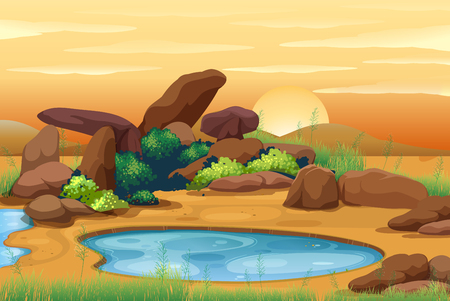 Scene with waterhole at sunset illustration Çizim