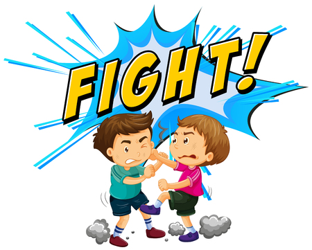 violent: Two boys fighting with word background illustration