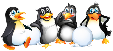 pals: Four penguins with snowballs illustration Illustration