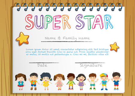 honour: Certificate template for super star illustration