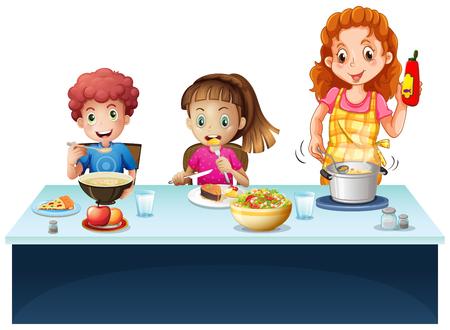 niños comiendo: Madre y niños que tienen comida en el comedor ilustración mesa Vectores