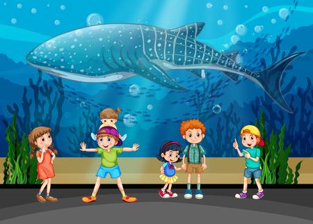 fishtank: Children and killer whale in aquarium illustration