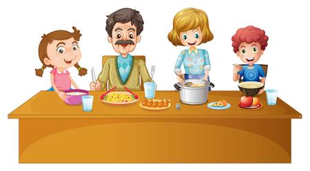 family: Family members having dinner at the table illustration
