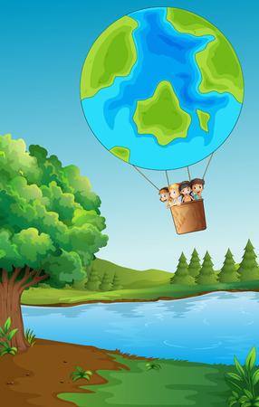 Children riding on balloon over the park illustration Illustration