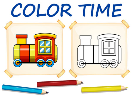 colour image: Coloring template with train illustration