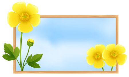 natue: Frame template with yellow buttercup flowers illustration Illustration