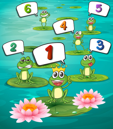 two animals: Counting numbers with green frogs illustration