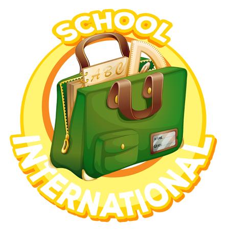 Logo design for international school with schoolbag illustration Ilustração