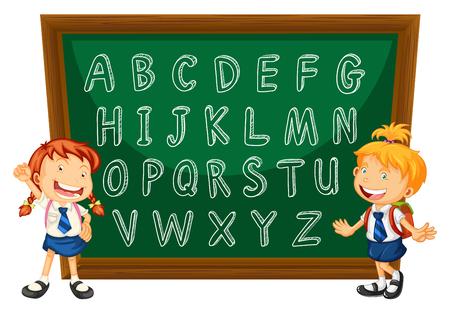 English alphabets on greenboard illustration