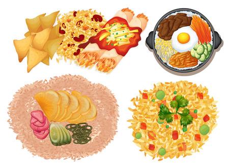 Different kinds of food on white background illustration Illustration